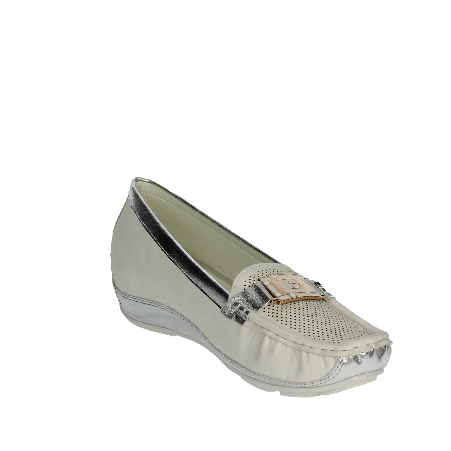Laura Biagiotti 727 White//Silver Moccasin Women Spring//Summer