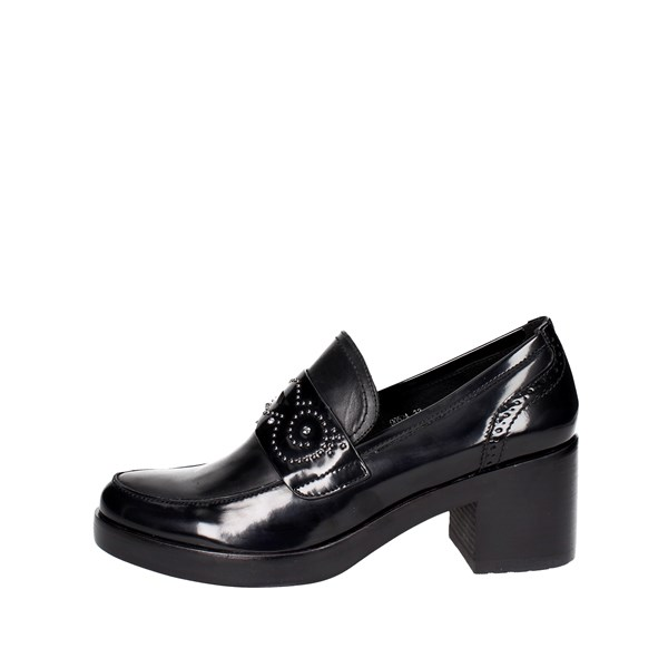 Luciano Barachini Shoes Moccassin With Heel Black 9052