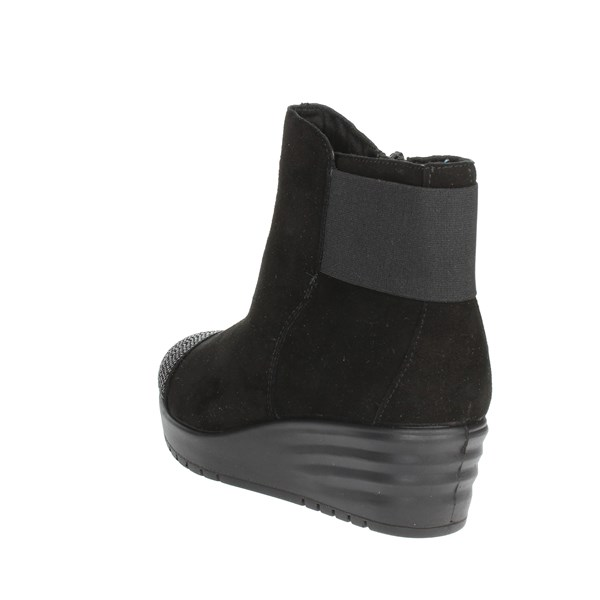 <Imac Shoes Ankle Boots With Wedge Heels Black 206471