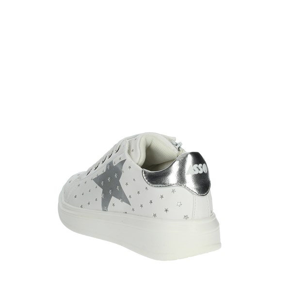 <Asso Scarpe Bambina Sneakers BIANCO/ARGENTO AG-700