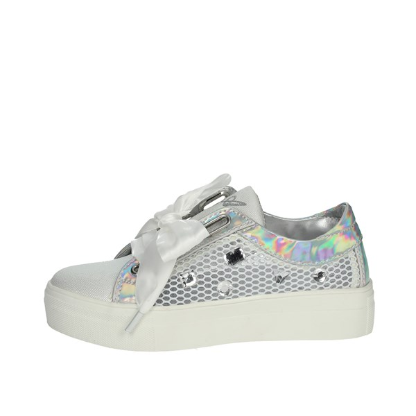 Asso Scarpe Bambina Sneakers BIANCO/ARGENTO AG-555