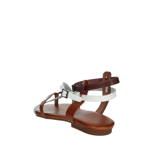 Porronet Shoes Flops White/Brown leather FI2403
