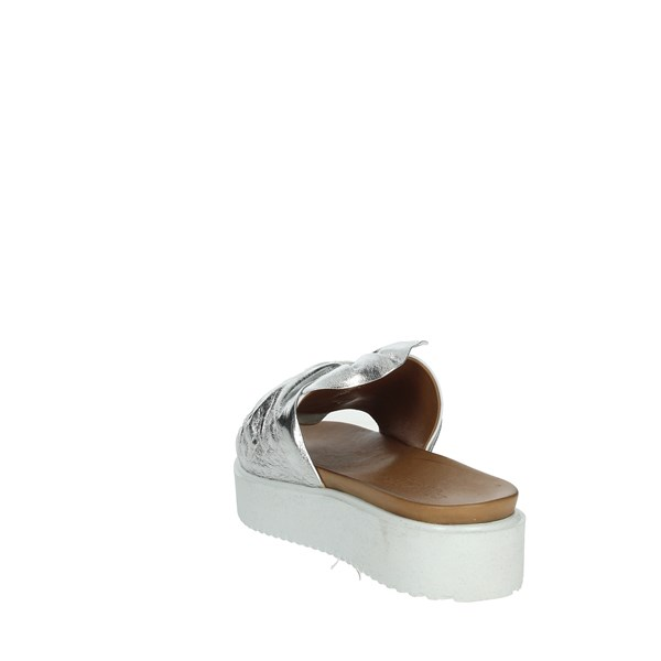 Donna Style Shoes Clogs Silver 19-281