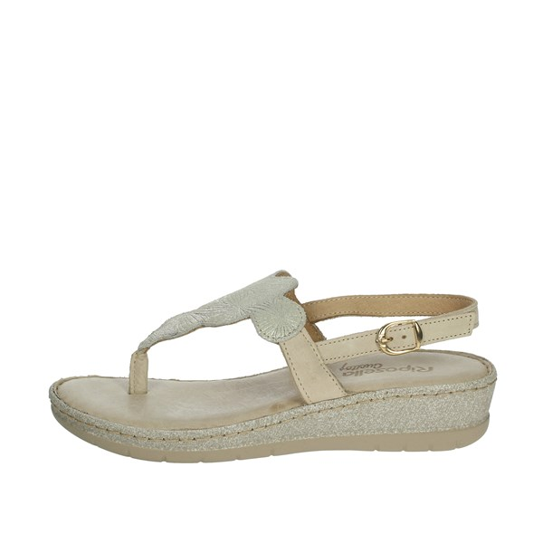 Riposella Shoes Flip Flops Beige/gold C451