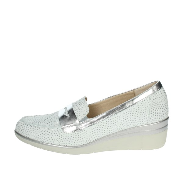 Pitillos Shoes Moccasin White/Silver 6020