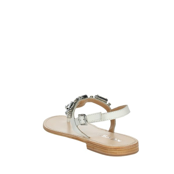Keys Shoes Flip Flops White K-1711