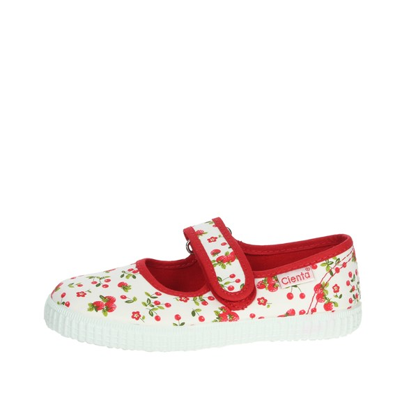 Cienta Shoes Ballet Flats White/Red 56004