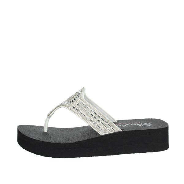 Skechers Shoes Flip Flops White/Black 31618