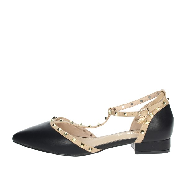 Gold & Gold Shoes Ballet Flats Black/Beige GP50